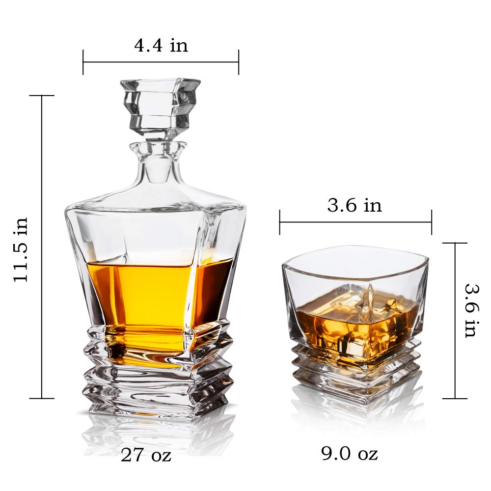 KANARS Crystal Whiskey Decanter And Glass Set With Luxury Gift Box - The Original Liquor Decanter Set For Scotch, Bourbon, Irish Whisky And Godmother Cocktail, 5-Piece by KANARS (Image #5)