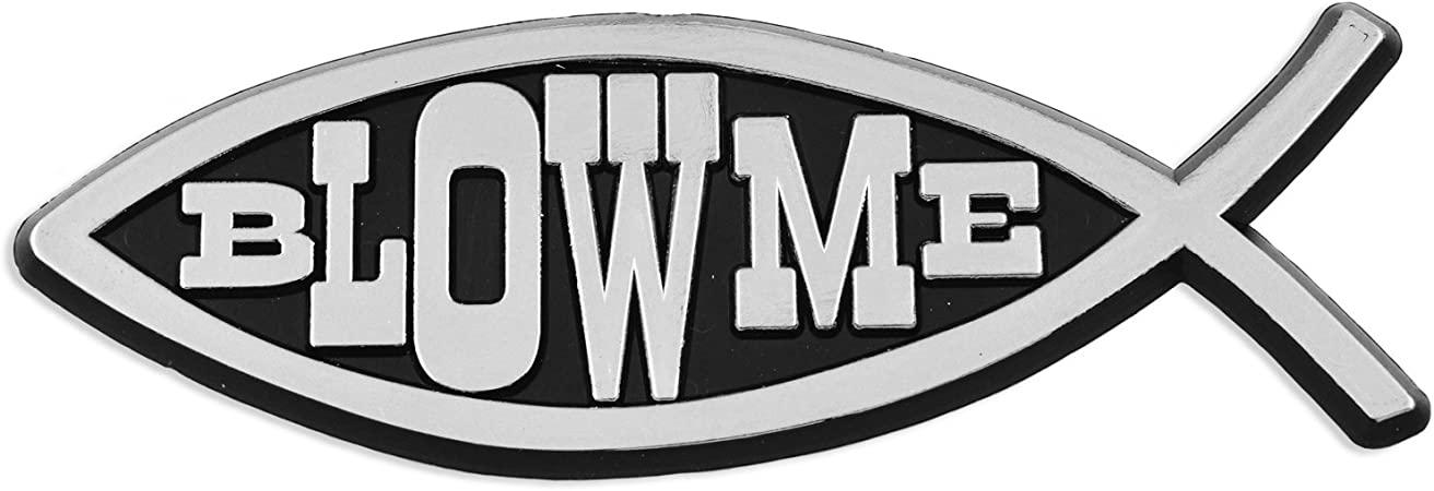 Blow Me Darwin Fish 5 Gold Chrome Auto Emblem
