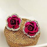 1Pair Elegant Women Rhinestone Red Rose Flower Ear Studs Earrings Jewelry Gift