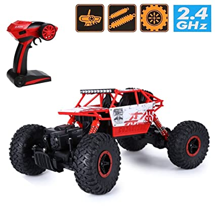 Kids Choice Rock Crawler 4WD 2.4 Ghz 4x4 Rally Car RC Monster Truck, Red