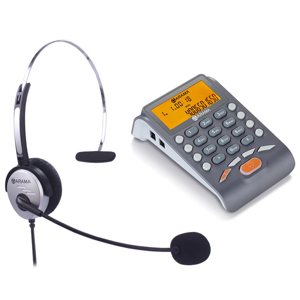 Corded Headset Telephone with Noise Cancelling Headset, ARAMA Landline Caller ID Phone, Fully Functional Dialpad, Clear Hands Free Calls, Ultra Comfort & Durable