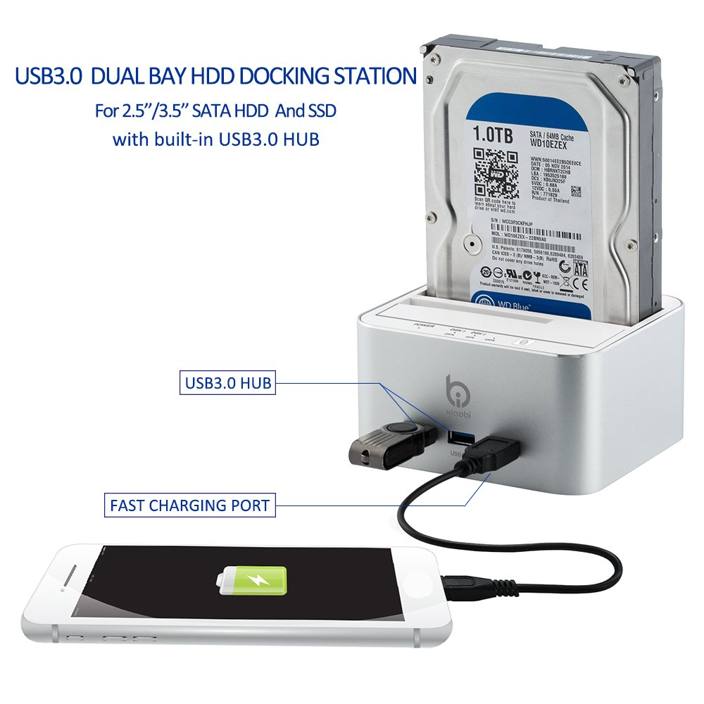 External Hard Drive Docking Station, Aluminum USB 3.0 to SATA Only HDD Dual Hard Drive Dock with 3 Port Hub, UASP Offline Clone Function for 2.5/3.5 Inch HDD SSD up to 2 x 10TB by FREESOO (Image #2)