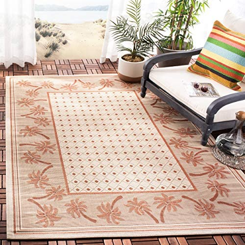 Safavieh Courtyard Collection CY5148J Ivory and Rust Indoor Outdoor Area Rug 6 7 x 9 6