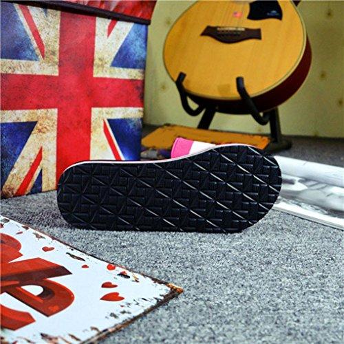 Ouneed ® Las mujeres verano rayas sandalias zapatillas Rosa caliente