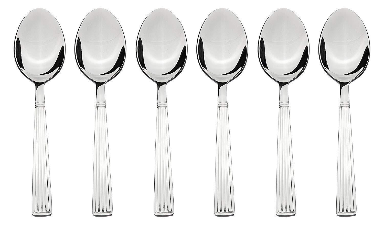 Laxmi 6 Piece Stainless Steel Table Spoon Set Stripes Silver