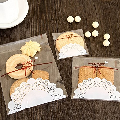 Astra shop 300 PCS Lovely Cute Bowknot OPP Self Adhesive Bags in 3 Sizes for Cookie Bakery Candy Biscuit Roasting Treat Gift - 100pcs Each Size