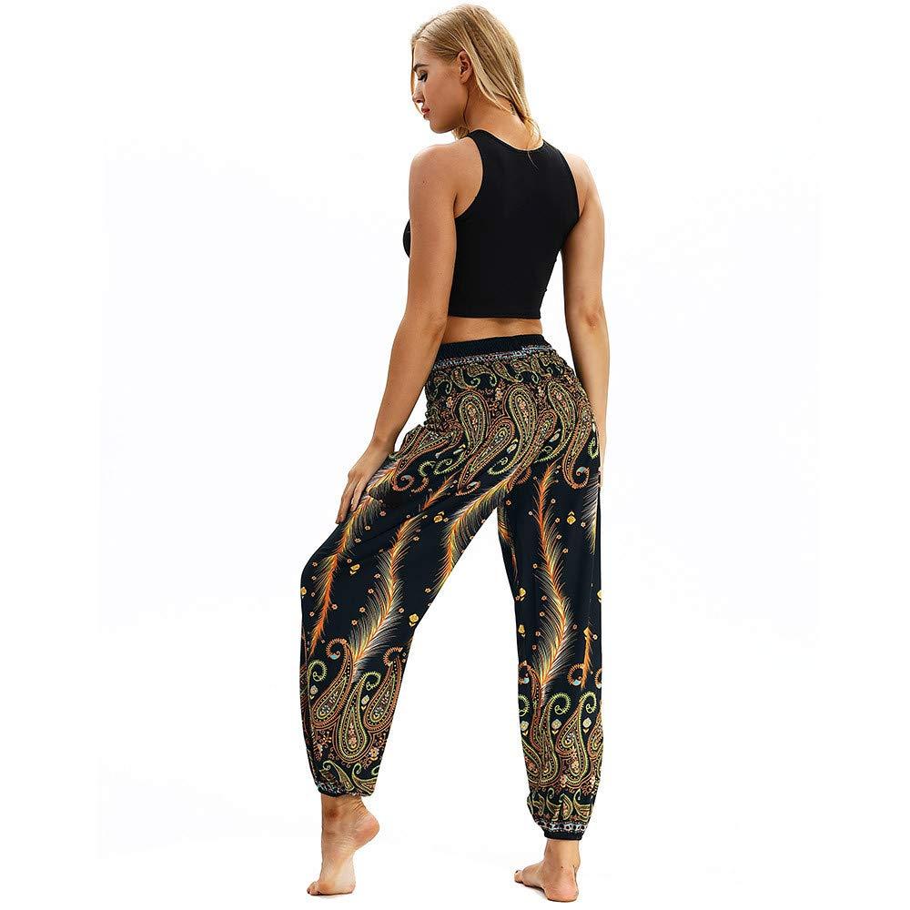 Damen Yogahose Hose Sommer Wide Leg Yoga Hosen Aladinhose Strandhose Pumphose JO