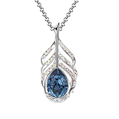 drop plated made elements women peacock buy mahi golden product for with swarovski rhodium feather pendant