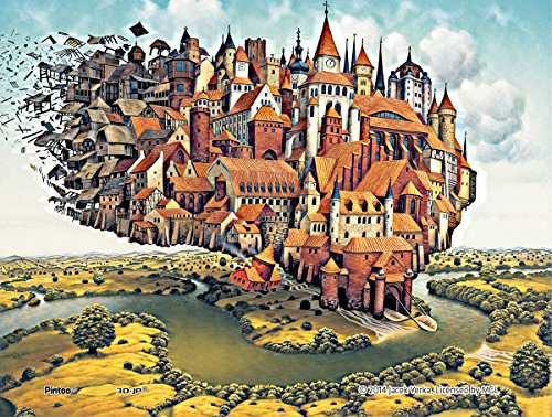 Pintoo - P1129 - Jacek Yerka - City is Landing - 150 Piece mini Plastic Puzzle