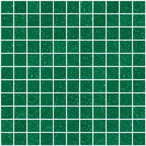 Susan Jablon Mosaics - 1 Inch Emerald Green Glitter Glass Tile