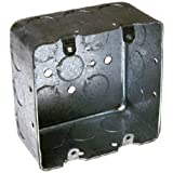 Hubbell-Raco 683 Two-Device Switch, 4-Inch. Square Box 2-1/8-Inch Deep, 1/2-Inch and 3/4-Inch Side Knockouts, Drawn, Gray Fin