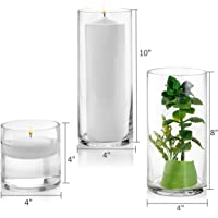 Set of 3 Glass Cylinder Vases 4, 8, 10 Inch Tall - Multi-use: Pillar Candle, Floating Candles Holders or Flower Vase - Perfect as a Wedding Centerpieces.