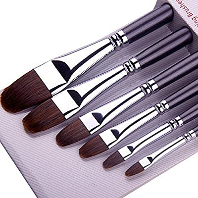 Paint Brushes for Acrylic Painting Sable Weasel Hair Artists Filbert Paintbrushes Long Handle for Acrylic Oil Gouache Watercolor Painting Brush Set Artist 6Pcs/Set.