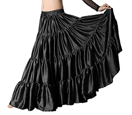 d805dea04dc Indian Trendy 36 quot  Long Women s Satin 6 Yard 4 Tiered Gypsy Belly Dance  Skirt Flamenco