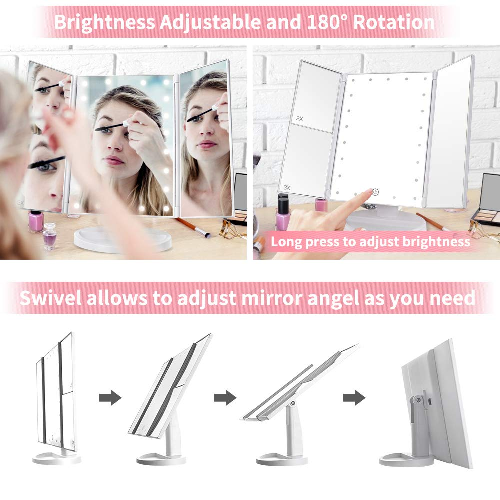 Makeup Mirror with Lights, DIOZO Makeup 21 LED Vanity Mirror, Lighted Up Mirror with Touch Screen Switch, 180 Degree Rotation, Dual Power Supply, Portable White Trifold Mirror by DIOZO (Image #3)