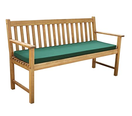Dehner Gartenbank Mykonos, 3-Sitzer, ca. 150 x 89 x 44 cm, FSC-Akazienholz, geölt, Natur, inkl. Polster