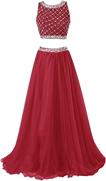 Callmelady Two Piece Long Prom Dresses for Women with Sleeveless Sequined Top
