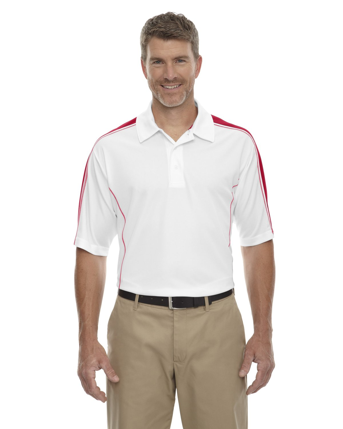 Ash City Men's Performance Pique Color-Block Polo Shirt, White/CL RED 850, Small by Ash City - Extreme
