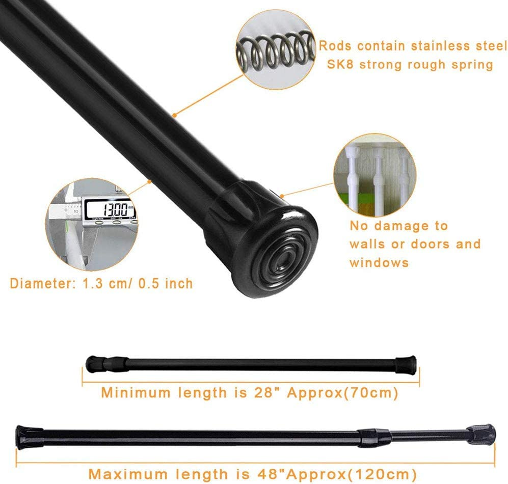 DADIWEY Tension Rods 28 to 48 Inches Black Bathroom,Wardrobe Adjustable Extension Spring Rods Closet Rod Cupboard Bars Tensions Rod for Windows,Kitchen 2 Pack Spring Tension Rods