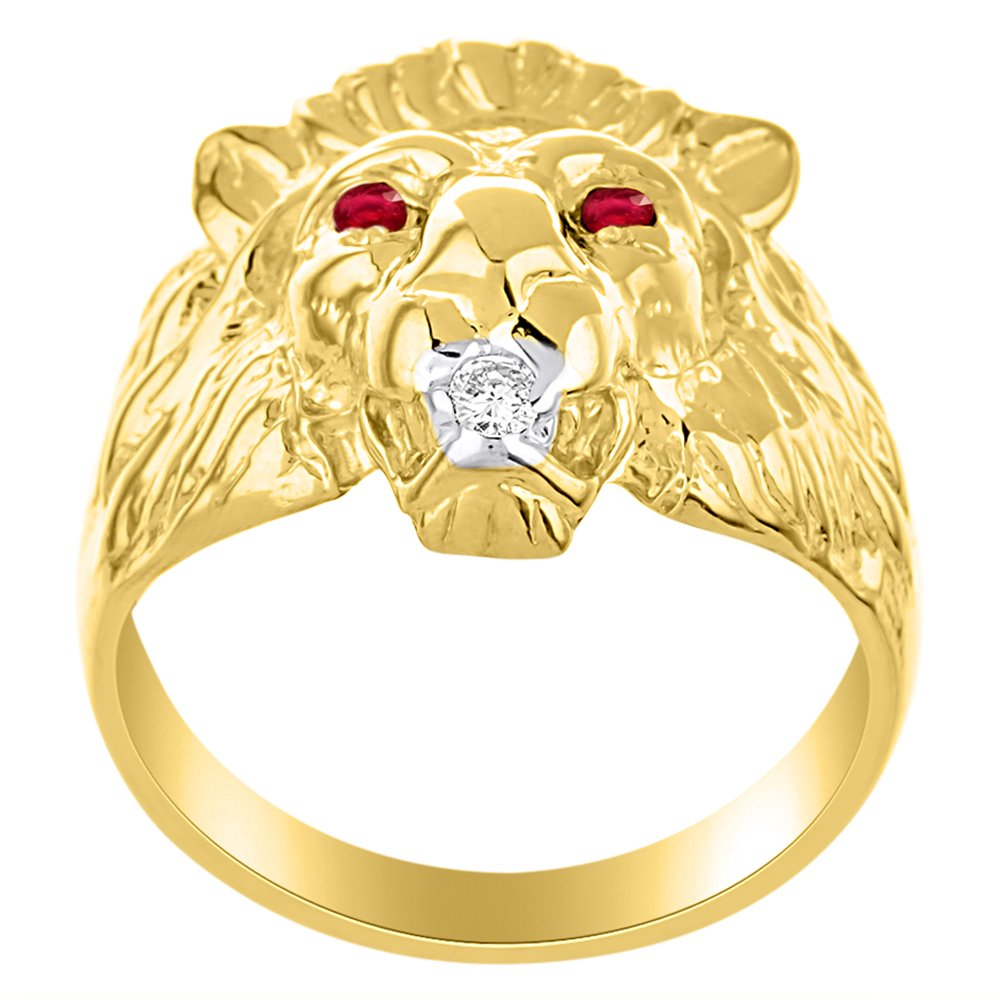 Lion Head Ring set with Genuine Diamond in mouth & Natural Rubies in eyes 14K Yellow Gold Plated over Silver by Rylos (Image #3)