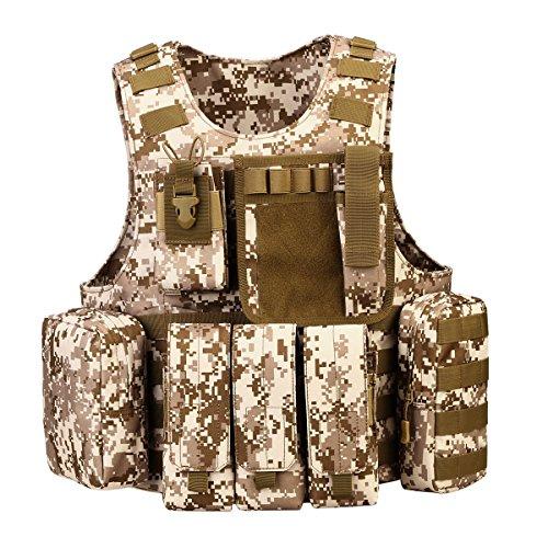 UNISTRENGH Tactical MOLLE Vest Adjustable Lightweight Breathable Combat Training Vest, Desert Camo
