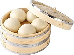 2 Tier Bamboo Steamer Basket Stainless Steel – 10 Inch Traditional Bamboo Steamer – Safe and Eco-Friendly – Healthy and Delicious Food – Steamer For Cooking Dumplings, Veggies, Meat, Fish, Chicken