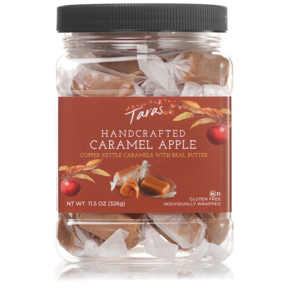 Tara's All Natural Handcrafted Gourmet Flavored Caramels: Small Batch, Kettle Cooked, Creamy & Individually Wrapped, Caramel Apple, 11.5 Oz