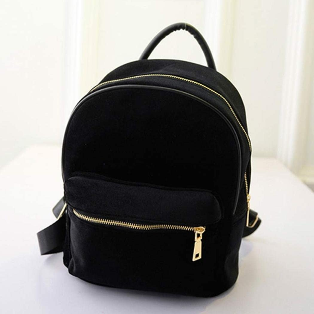 Leewos Women Gold Velvet Rucksack Casual Small Backpack School Book Shoulder Bag