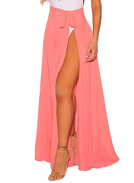 6dc15a49e45cc Amazon.com: Bulawoo White Black Yellow Beach Skirt Swimsuit Cover up Wrap Sheer  Sarong One Size Pink: Clothing