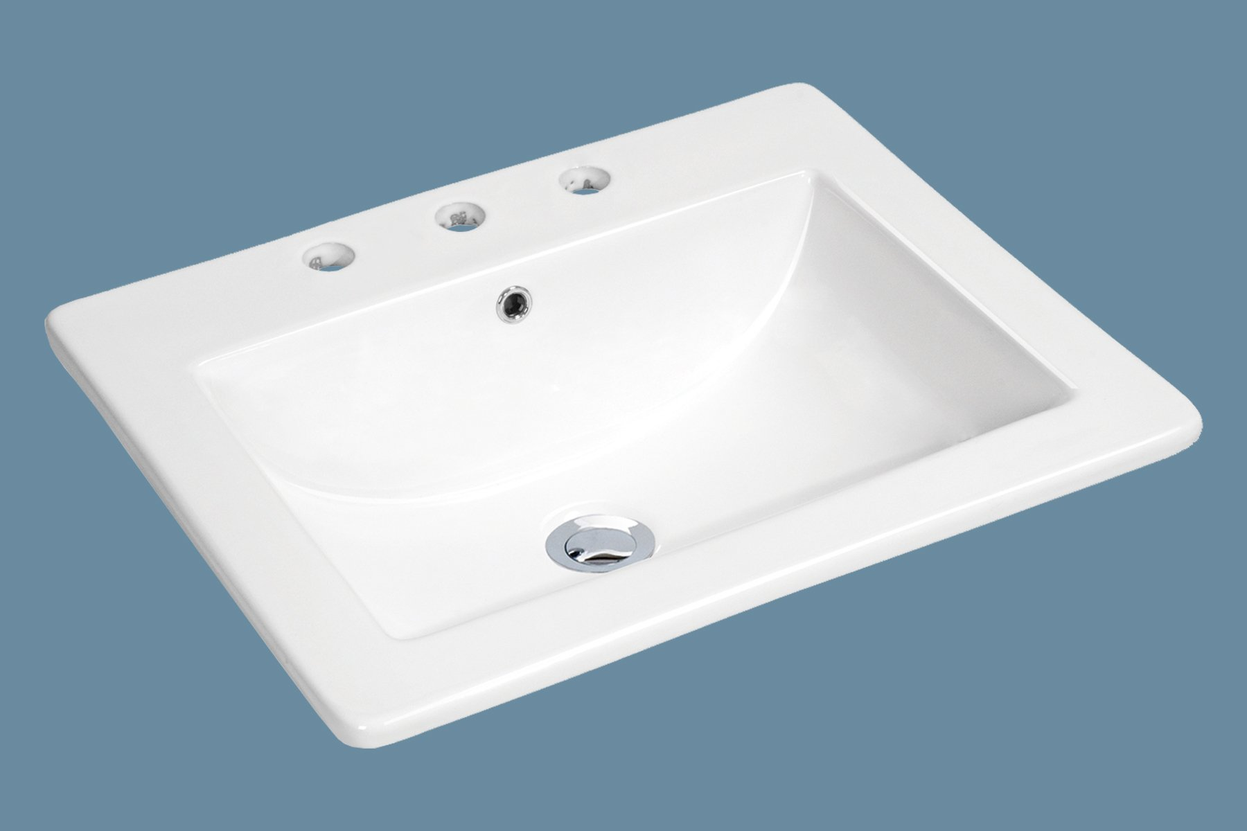MSCBDP-2118-3W 21-1/4'' x 18'' White Rectangular Porcelain Drop-In Top Mount Bathroom Sink