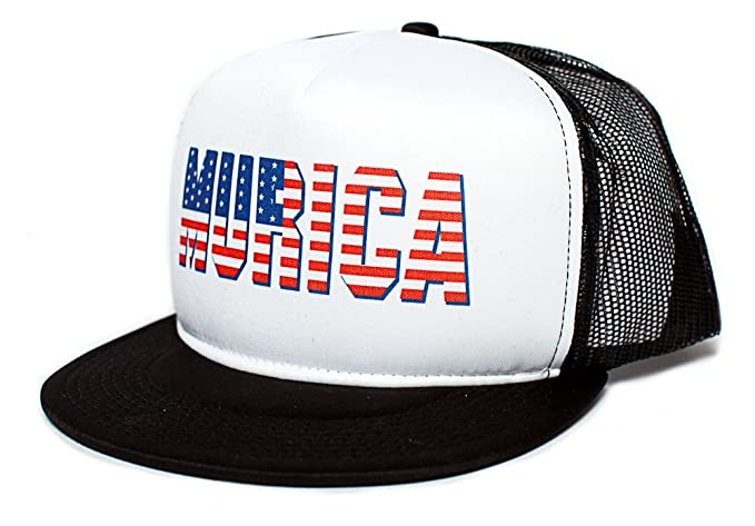 4a915fbe MURICA FOURTH OF JULY USA 4th FLAT BILL Unisex-Adult One Size Trucker Hat (