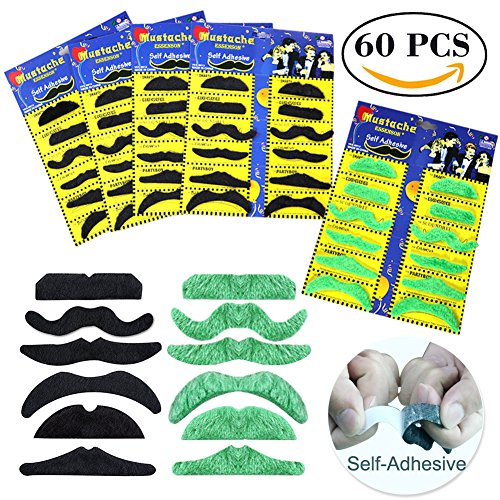 ESSENSON Adhesive Fake Handlebar Mustache Costume Set Stick-on Mustaches 60 (Funny Easy To Make Costumes For Adults)