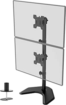 Weight Capacity Black M002S WALI Dual LCD Monitor Desk Mount Back to Back Fully Adjustable Desk Mount Fit Two Screen 17 to 32 inch,17.6 lbs