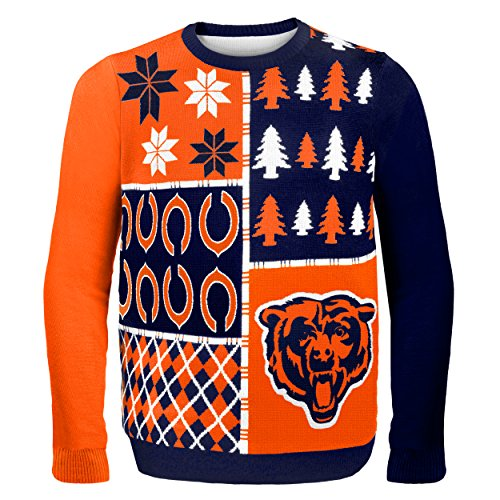 NFL Chicago Bears BUSY BLOCK Ugly Sweater, XX-Large (Sweater Christmas Bears Chicago)