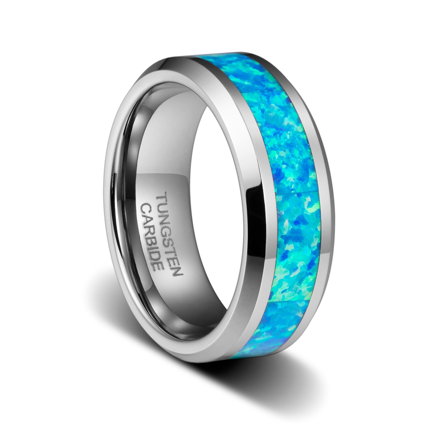 TUSEN JEWELRY 8mm Birthstone Polished Wedding Band with Genuine Blue Opal Inlay Tungsten Ring Beveled
