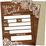T Marie 25 Party Invitations With Envelopes - Fill In the Blank Rustic Wedding Invites, Baby Shower, Christmas, New Year's, Bridal Shower, Birthday, Graduation, Housewarming and More - Country Burlap and Lace Theme Cards