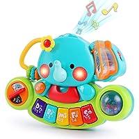 LUKAT Baby musikaliska elefantleksaker, småbarn piano tangentbord leksak med ljus och ljud musik aktivitetscenter…