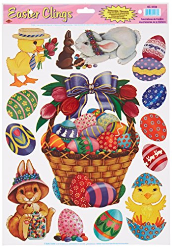 Beistle 44130 Easter Basket and Friends Clings Sheet for Parties, 12 by (Easter Decals)