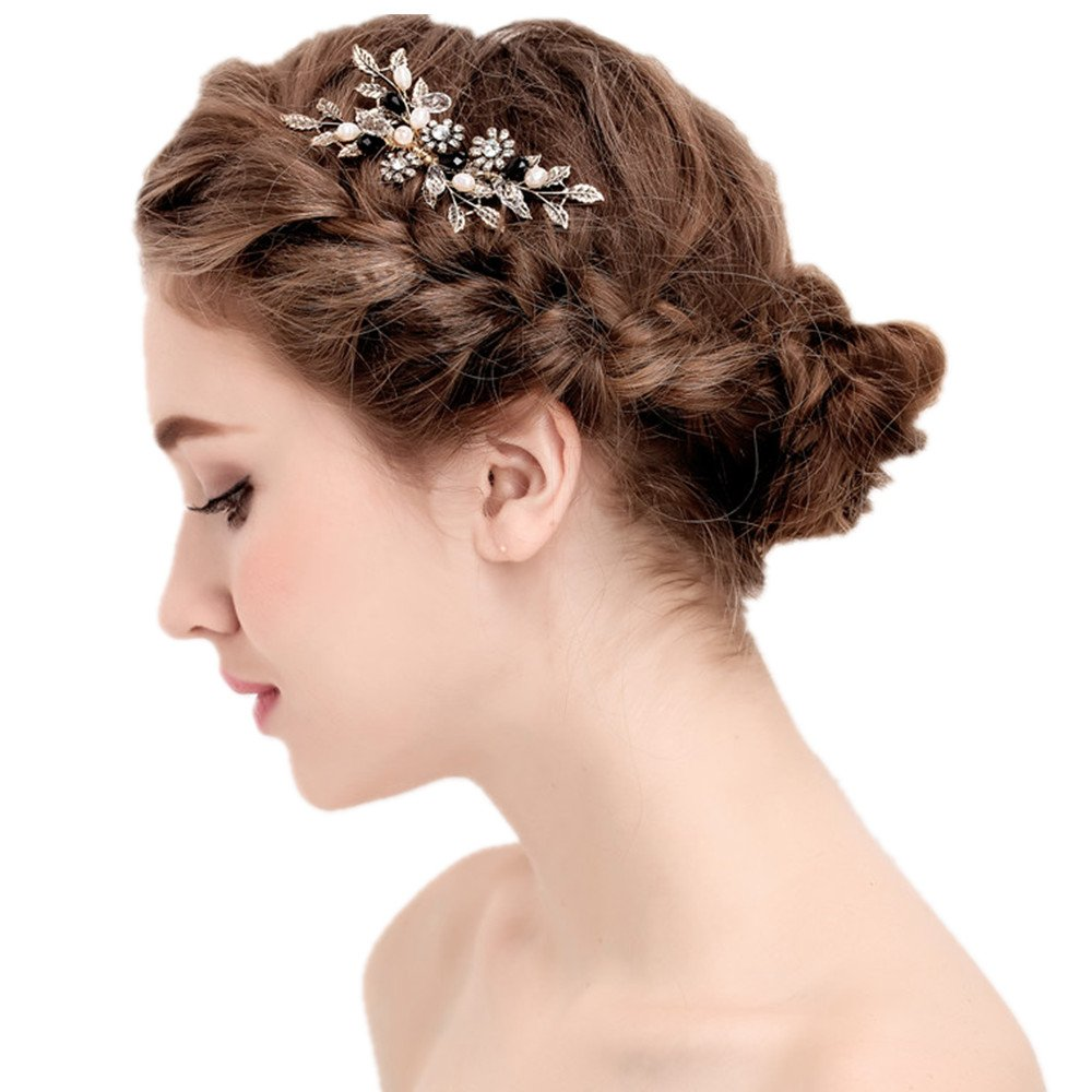 Vintage Black Flower Crystal Pearl Side Combs Bridal Headpiece Wedding Hair Accessories by MEiySH (Image #3)