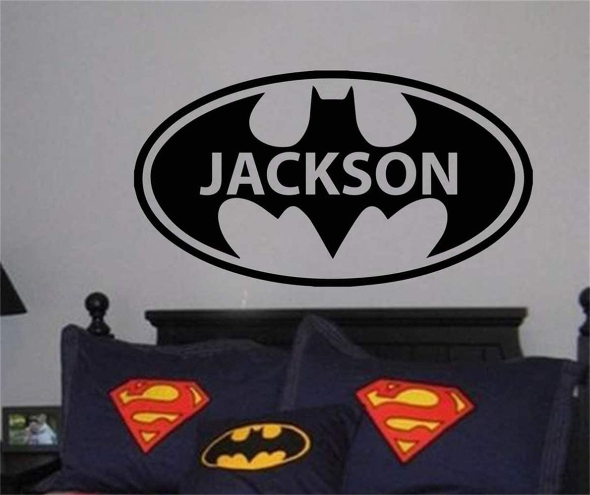 Wall Art Decor Decals Removable Mural Personalized Name with Batman for Nursery Kids Room Boys Room