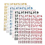Nail Art Stickers, 8 Colors Nail Stencils Design Decals Manicure Nail Art Stickers Decorations Accessories 864Pcs
