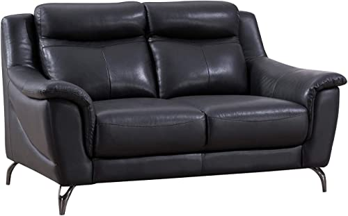 American Eagle Furniture EK150 Modern Upholstered Top Grain Leather Living Room Loveseat