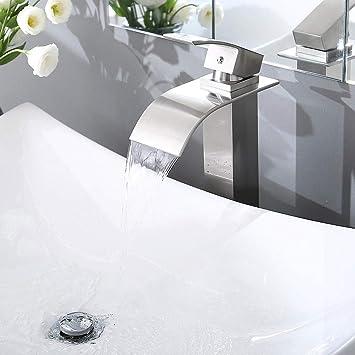 Aquaterior Modern Waterfall Single Handle Bathroom Vessel Sink Faucet One Hole Tall Bath Faucet Brushed Nickel Cupc Nsf