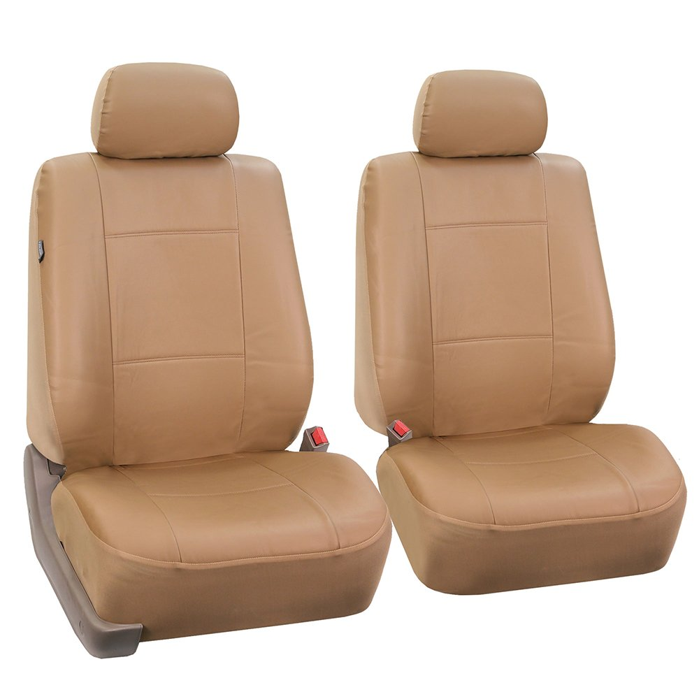 FH Group PU002TAN102 Tan Faux Leather Front Bucket Seat Cover, Set of 2 (Airbags Ready)