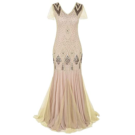WARM WORM Vestido V Profundo para Mujer, Vestido Glap de Gatsby de ...