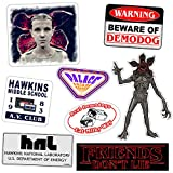 #5: Stranger and Things 8 Pack Vinyl Sticker Decal Set for Car, Laptop, Glass, Etc.   Demodogs, Demogorgon, Hawkins Lab, Eleven, Hawkins Middle School AV Club, Palace Arcade   Sizes up to 6.5