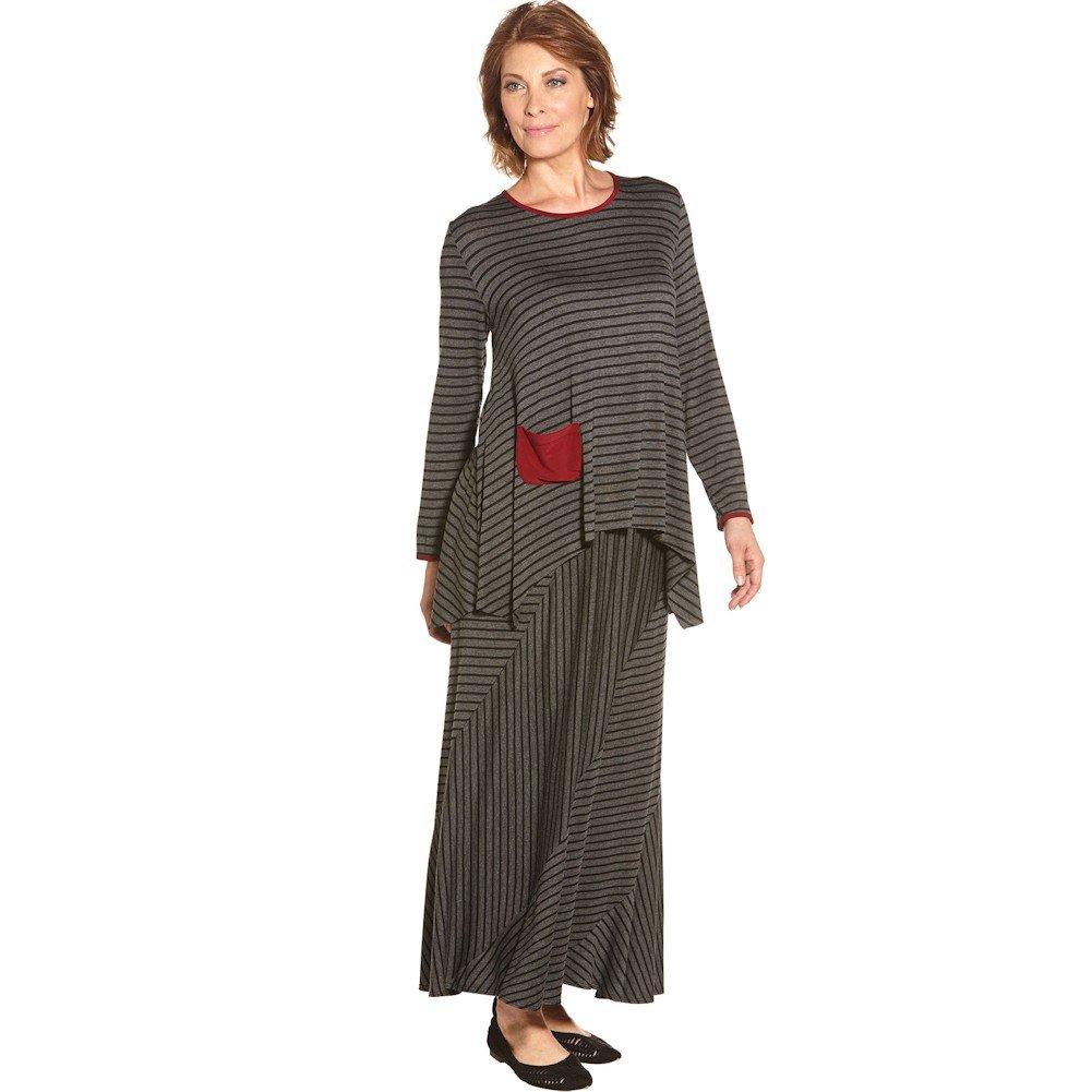 VERDUCCI Women's Maxi Skirt - Charcoal Gray Striped Long Skirt- 3X