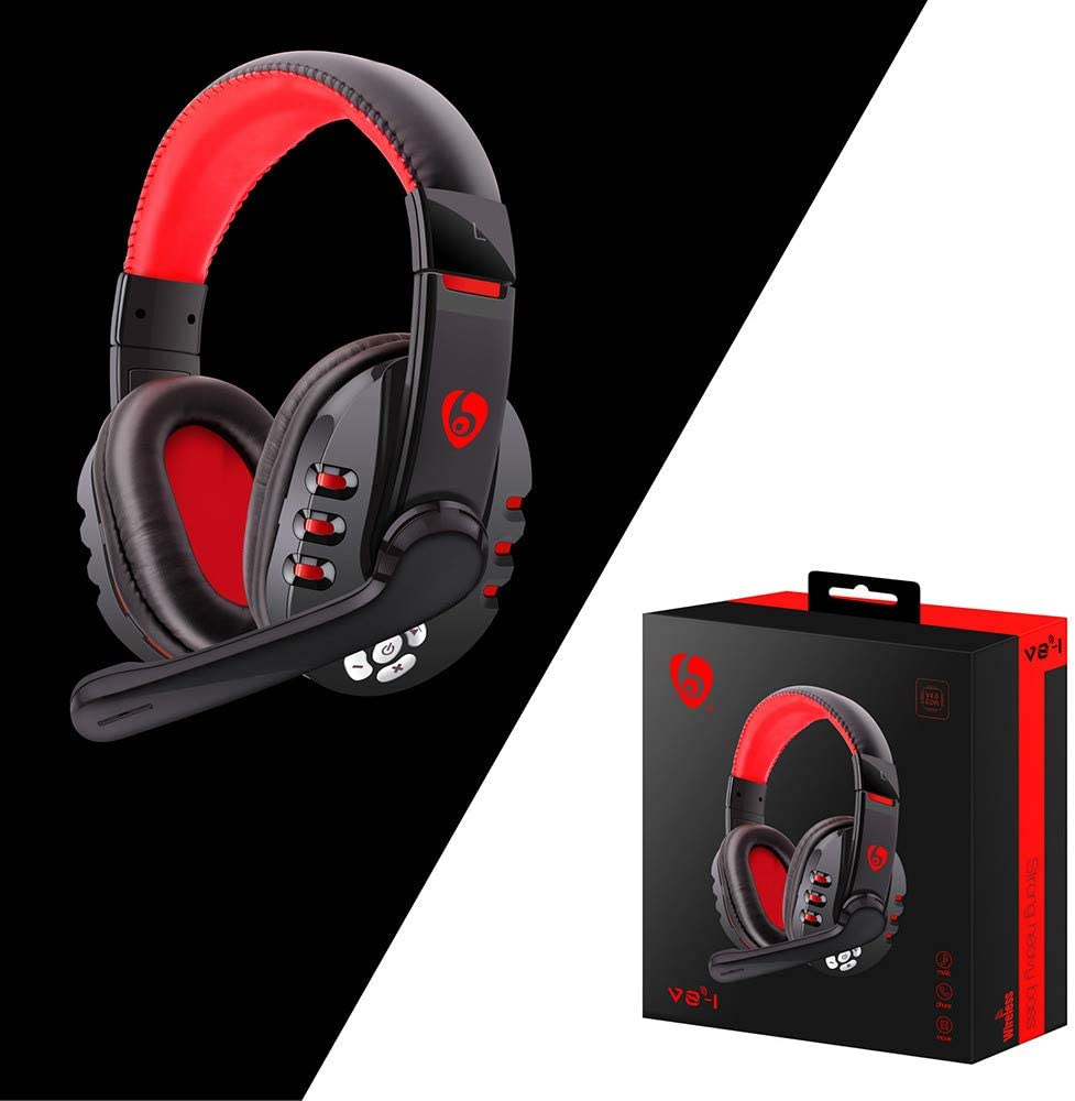 BITUBITU Wireless Gaming Headset Bluetooth Over-Ear Headphones Noise Cancelling Earphones with Mic Hands-Free Function for PC Laptops PS4 Xbox