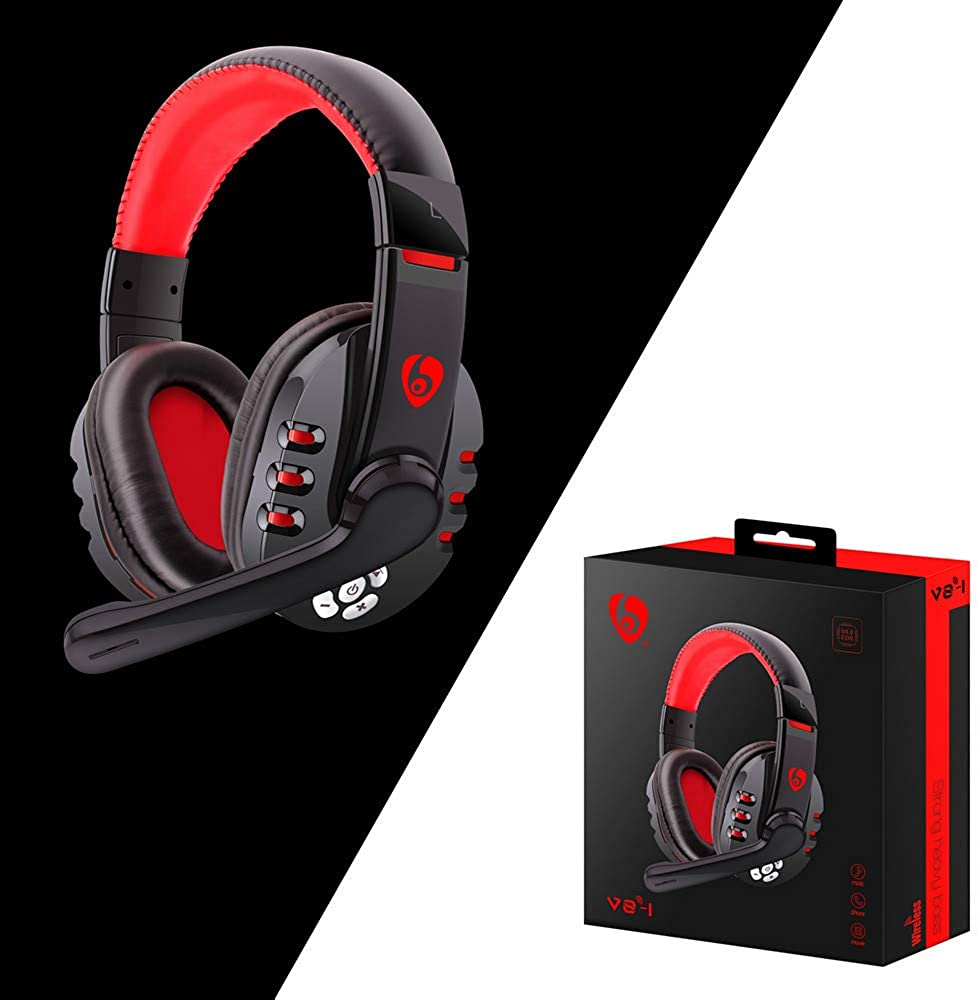 Office Bluetooth Over Ear Headphones Wireless Gaming Stereo Headsets w//Detachable Mic for PS4 Xbox one Wireless Headset w// 8 Hrs Play Time Studio Wireless PC Cell Phones