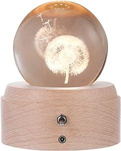maxgoods 3D Crystal Ball Music Box,Luminous Rotating Musical Box,Projection LED Light,Wood Base Best Gift for Birthday Home Decor (Dandelion)